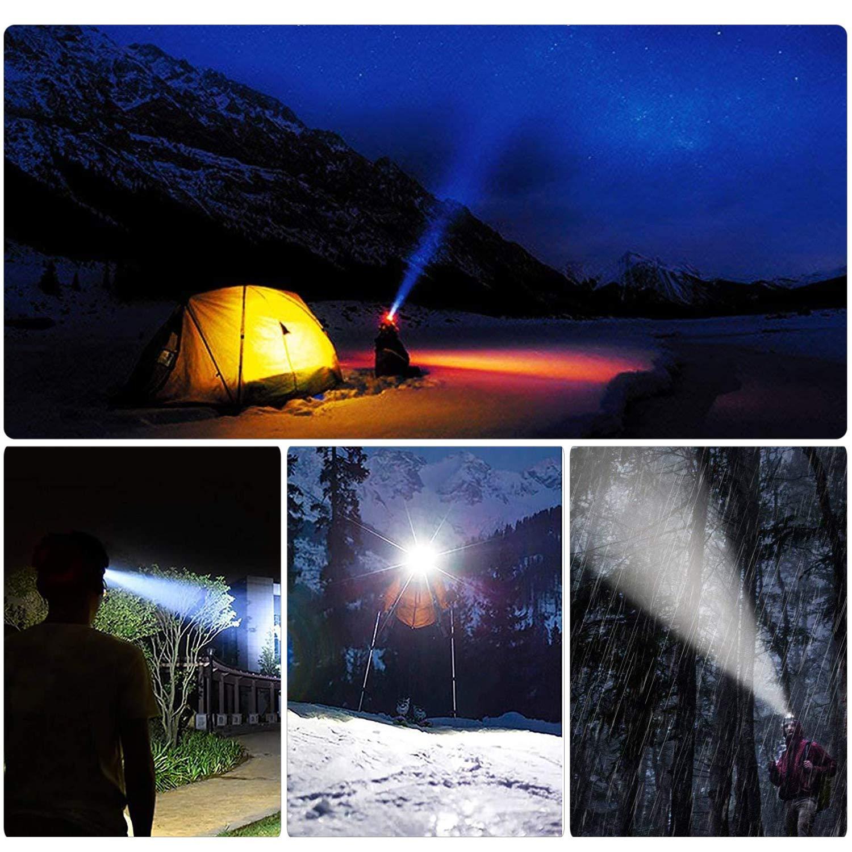 Lampade da Testa Ricaricabile,Torcia Frontale LED,Faro USB Super Luminosa con 10 modalit/à,Torcia da Testa per Campeggio//Escursionismo,Mountain Bike,Pesca,Cantina,Corsa