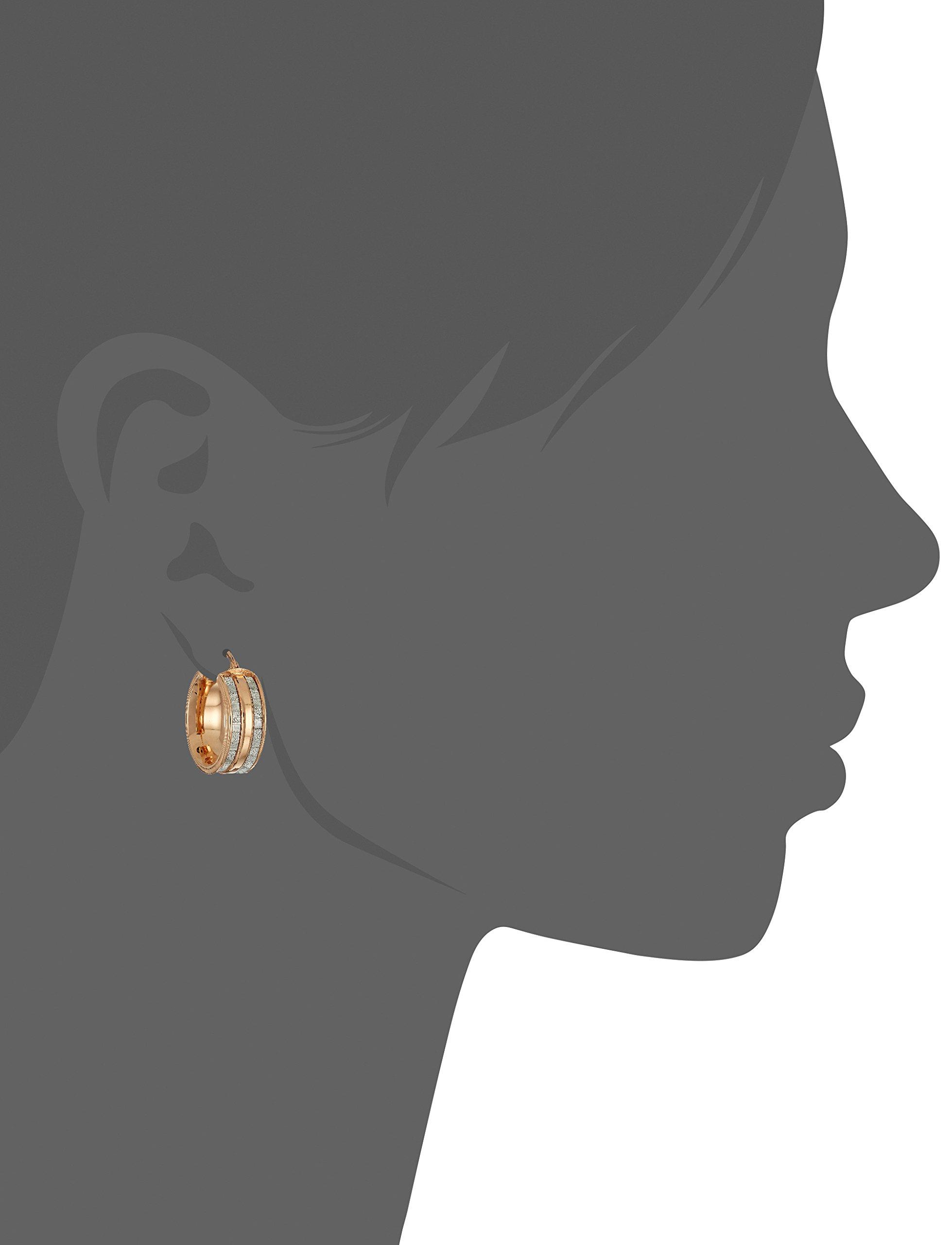 14k Rose Gold Italian Wide Hoop Earrings with Dual Baguette Style Glitter Strips Hoop Earrings by Amazon Collection (Image #2)
