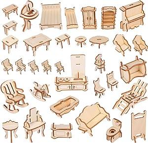 Artibetter 34pcs Mini 3D Wood Furniture Puzzles Dollhouse Furnitures Ornaments Wooden Building Puzzles Assembled Toys for DIY Craft Dollhouse Decoration Accessories