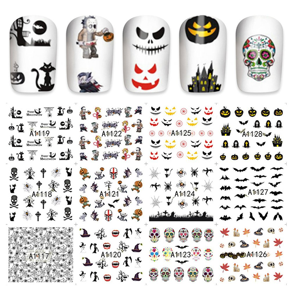 Nail Art Transfer Foil Sticker Halloween Bone Polish Decal Manicure Decoration Accessory 4 Types (#4)