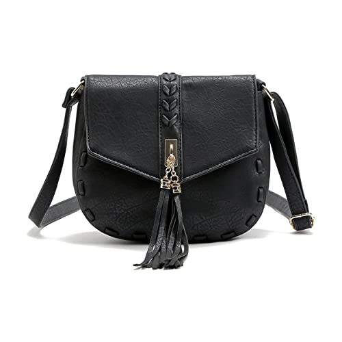 2285d3f1cca Smilecoco Women Adjustable Shoulder Strap Leather Tassel Shoulder Bags  Cross body Bags Small Purse, Black