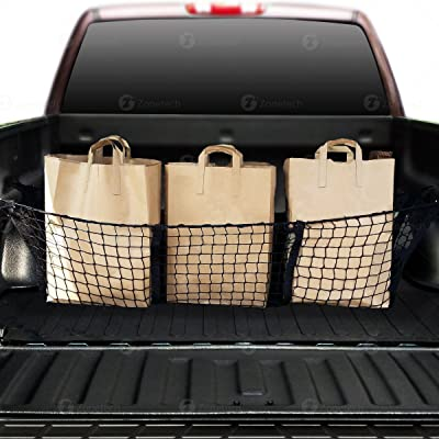 Zone Tech Car Trunk Mesh Cargo Net Three Pocket Net- Elastic Storage Universal Automobile Organizer- Stretchable Mesh Truck Bed Basket: Automotive