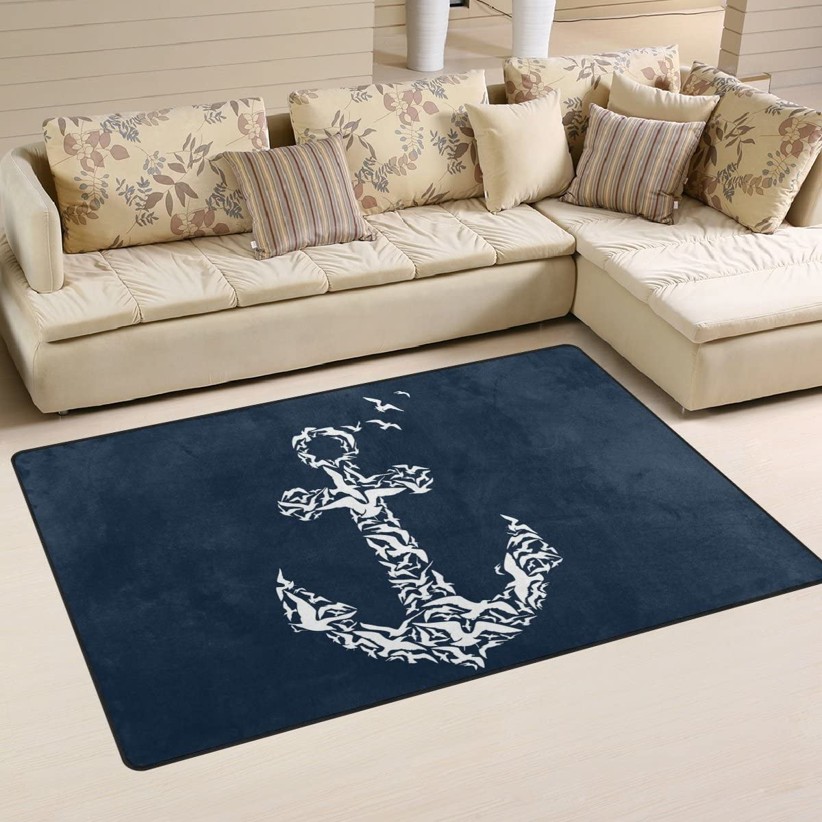 Yochoice Non-slip Area Rugs Home Decor, Vintage Retro Seagull Anchor Pattern Floor Mat Living Room Bedroom Carpets Doormats 60 x 39 inches