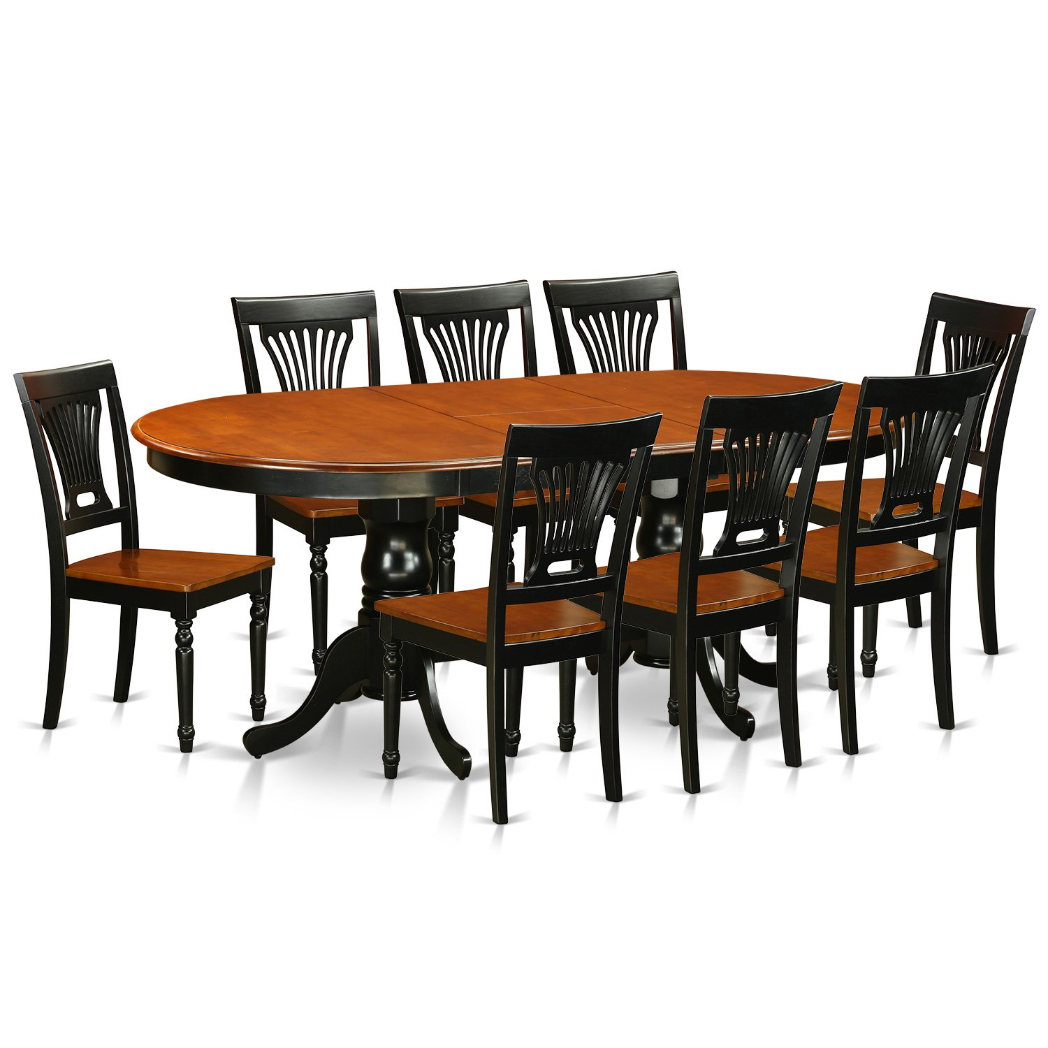 Amazon.com: East West Furniture PLAI9 BLK W 9 Piece Dining Table Set:  Kitchen U0026 Dining