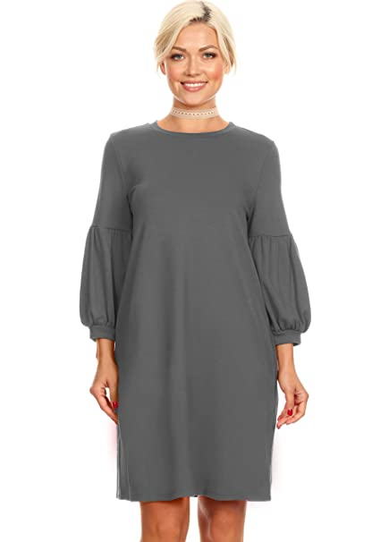 Amazon Simlu Womens Long Puff Sleeves Reg And Plus Size Dresses