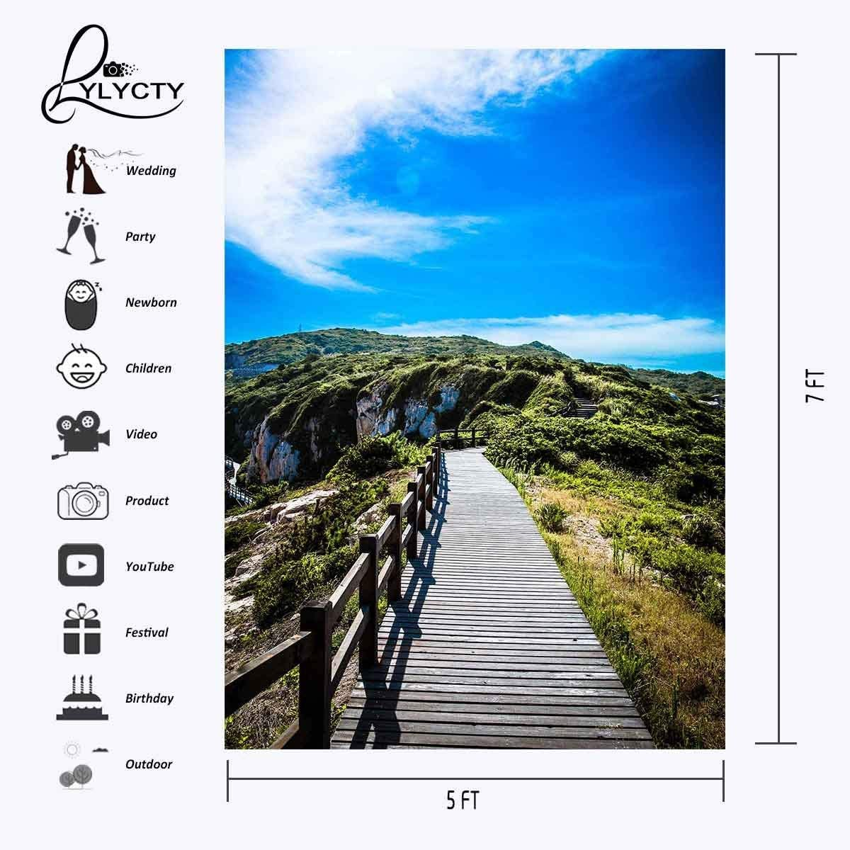 GoEoo 5X7ft Beautiful Natural Mountain Scene Backdrop Rich Mountain of Vegetation Blue Sky Photography Background Outdoor Shooting Props LYGE612