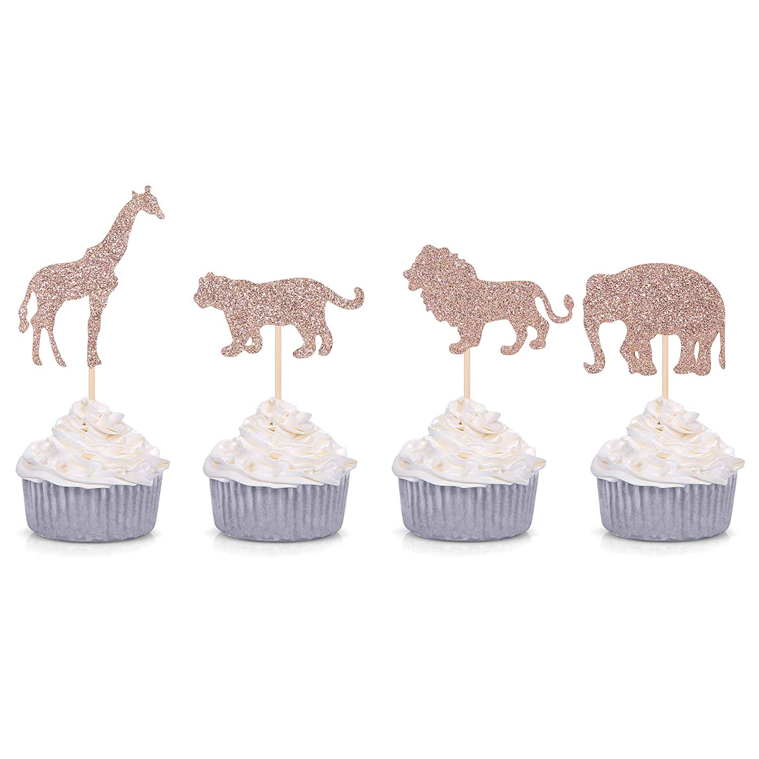 24 Counts Rose Gold Glitter Jungle Safari Animal Cupcake Toppers Elephant Giraffe Lion Tiger for Baby Shower Birthday Party Decorations