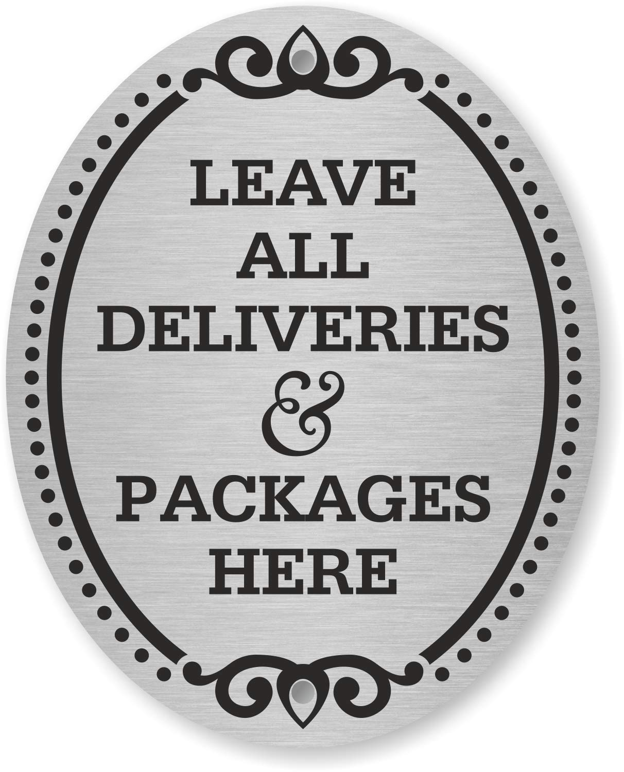 """SmartSign """"Leave All Deliveries & Packages Here"""" Diamond Plate Door Sign 