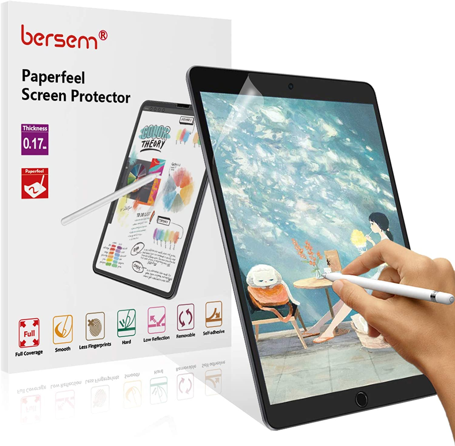 BERSEM[2 Pack]Paperfeel Screen Protector for iPad Air 2019 / iPad Pro 10.5, iPad Air 3 Paperfeel Film Anti Glare Scratch Resistant Paperfeel Protector for iPad Pro 10.5 inch