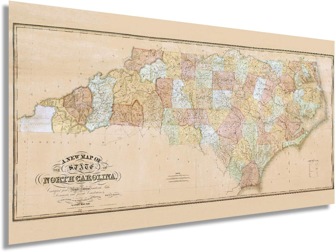 Historix Vintage 1833 North Carolina State Map - 12x24 Inch North Carolina Vintage Map Constructed from Actual Surveys - NC Wall Art - North Carolina Map Wall Decor - North Carolina Poster (2 Sizes)