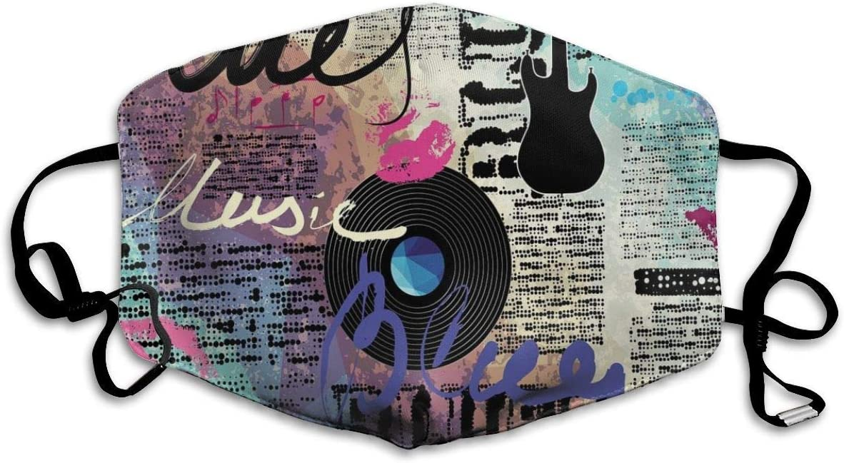 Cómoda máscara a Prueba de Viento, Blues Género Musical Antiguo Registro Guitarras eléctricas Beso Inscripciones Grunge