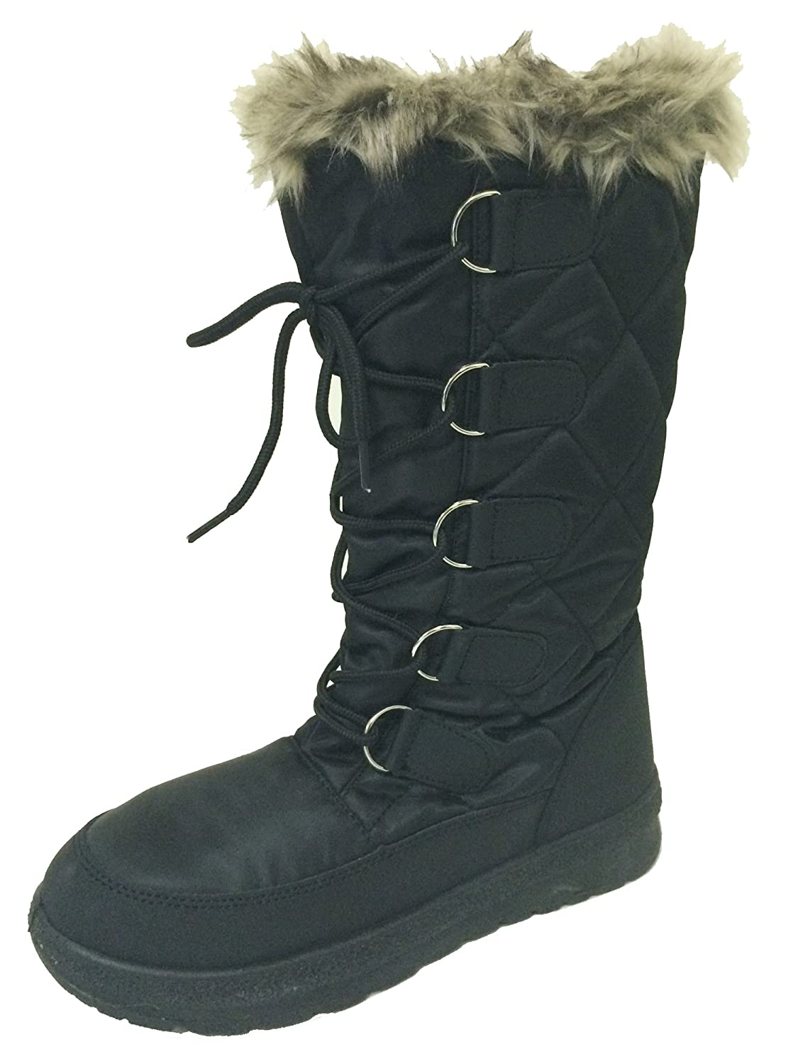 G-PLS Women's Winter Boots Cold Weather Fur Lined Insulated Zipper Water Resistant Ski Snow Shoes, Black