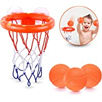 JYELUK Bath Toys Bathtub Basketball Hoop Balls Set for Toddlers Kids with Strong Suction Cup Easy to Install,Fun Games…