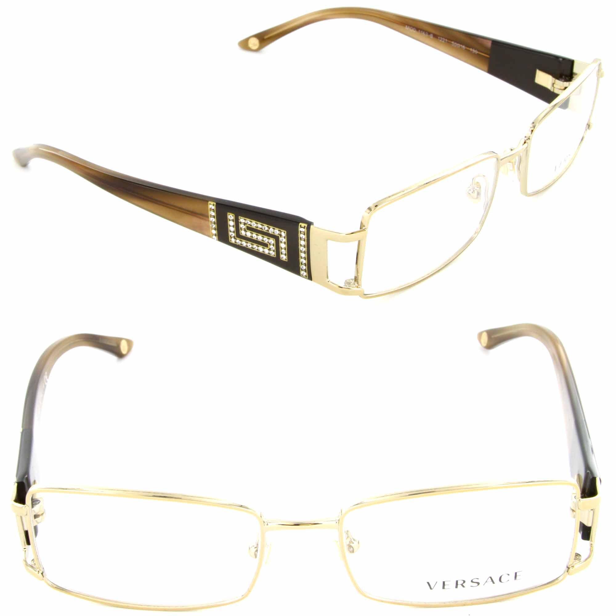 Versace Eyeglasses VE 1163B Eyeglasses 1221 Brown and Gold 52mm by Versace