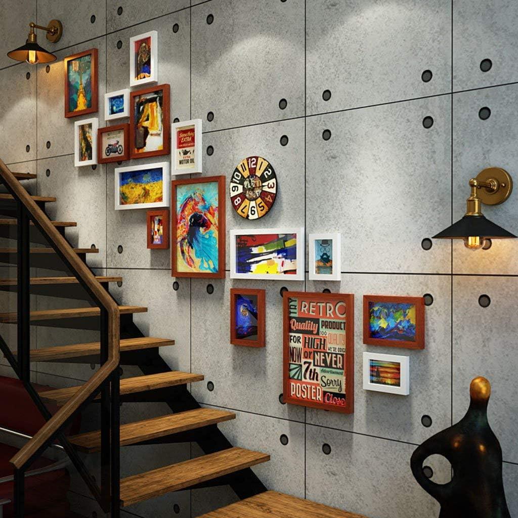 Wsjfc Marco Decorativo Vintage Antiguo Escalera de Viento Industrial Pared de Fotos Corredor Creativo Pared de Fotos Pared de Fotos Decoración de Barras (Color: B): Amazon.es: Hogar
