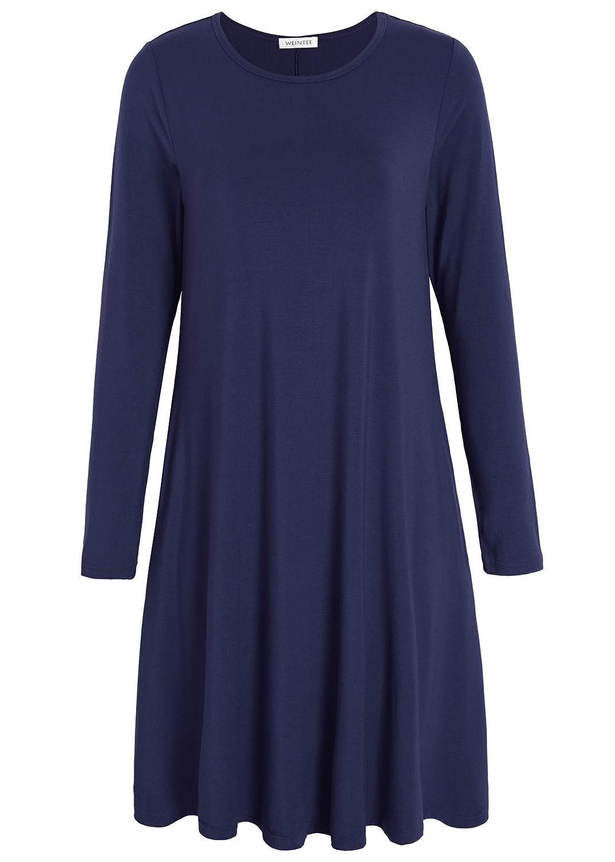 Weintee Womens T Shirt Dress Casual Knee Length Dress With Pockets