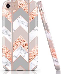 BAISRKE Shiny Rose Gold Wave Geometric Marble Case Slim Soft TPU Rubber Bumper Silicone Protective Phone Case Cover Compatible with iPhone 8 / iPhone 7 / iPhone 6 6s 4.7 inch [Pink]