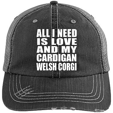 d36ea8807 All I Need is Love and My Cardigan Welsh Corgi - Distressed Trucker Cap  Black/