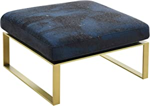 Comfortland 24 Inches Square Ottoman Bench, Footrest, Upholstered Padded Seat Foot Stool, Chenille Floral Bed end Stool for Bedroom, Living Room, Kids Room and Entryway (Navy Blue)