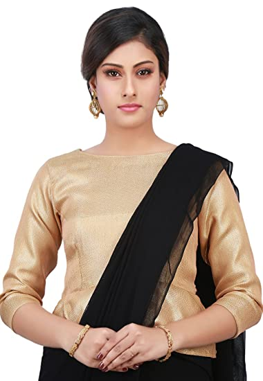 6aa66cc6e46891 Utsav Fashion Plain Brocade Silk Peplum Style Blouse in Golden  Amazon.in   Clothing   Accessories