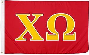 Chi Omega Letter Sorority Flag Greek Banner Large 3 feet x 5 feet Sign Decor chi o