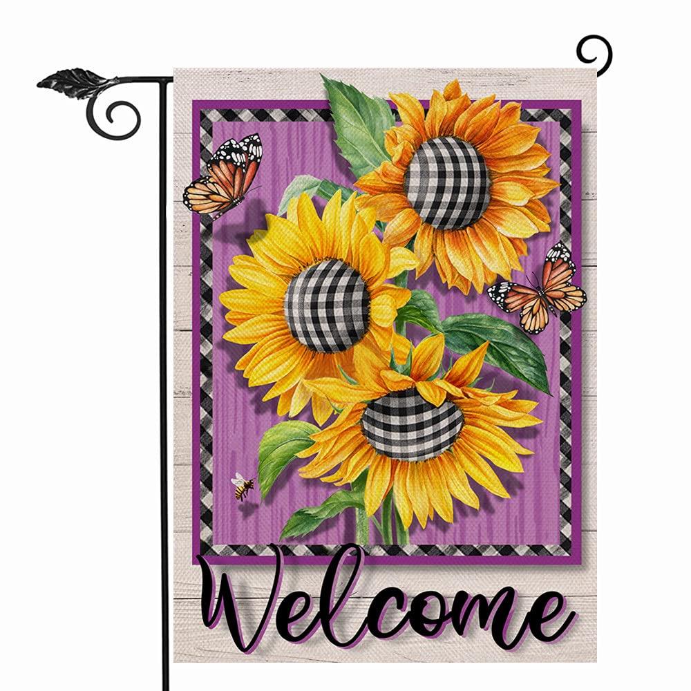 Hzppyz Sunflower Welcome Garden Flag Double Sided, Summer Fall Flower Butterfly Decorative House Yard Outdoor Small Burlap Flag Buffalo Plaid Check Decor Autumn Farmhouse Home Outside Decoration 12x18