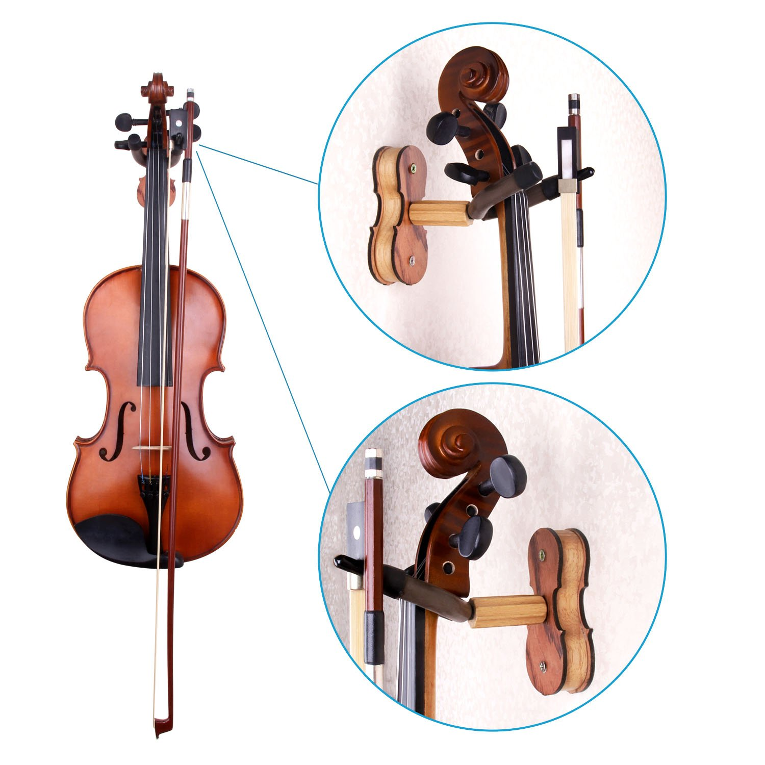 Mugig Violin Shoulder Rest Rosin Tuner Violin Hanger Violin Accessories Kit 10 in 1 Package for Violin Beginners and Practicing