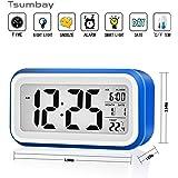 Reloj despertador digital de gran pantalla silencioso con fecha, indicador de temperatura, calendario y luz de noche, alarma con sensor táctil y de luz, Se carga por USB o batería AAA- Azul Oscuro