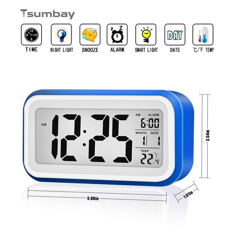 Reloj despertador digital de gran pantalla silencioso con fecha indicador de temperatura