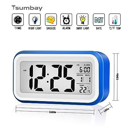 Reloj despertador digital de gran pantalla silencioso con fecha, indicador de temperatura, calendario y luz de noche, alarma con sensor táctil y de ...