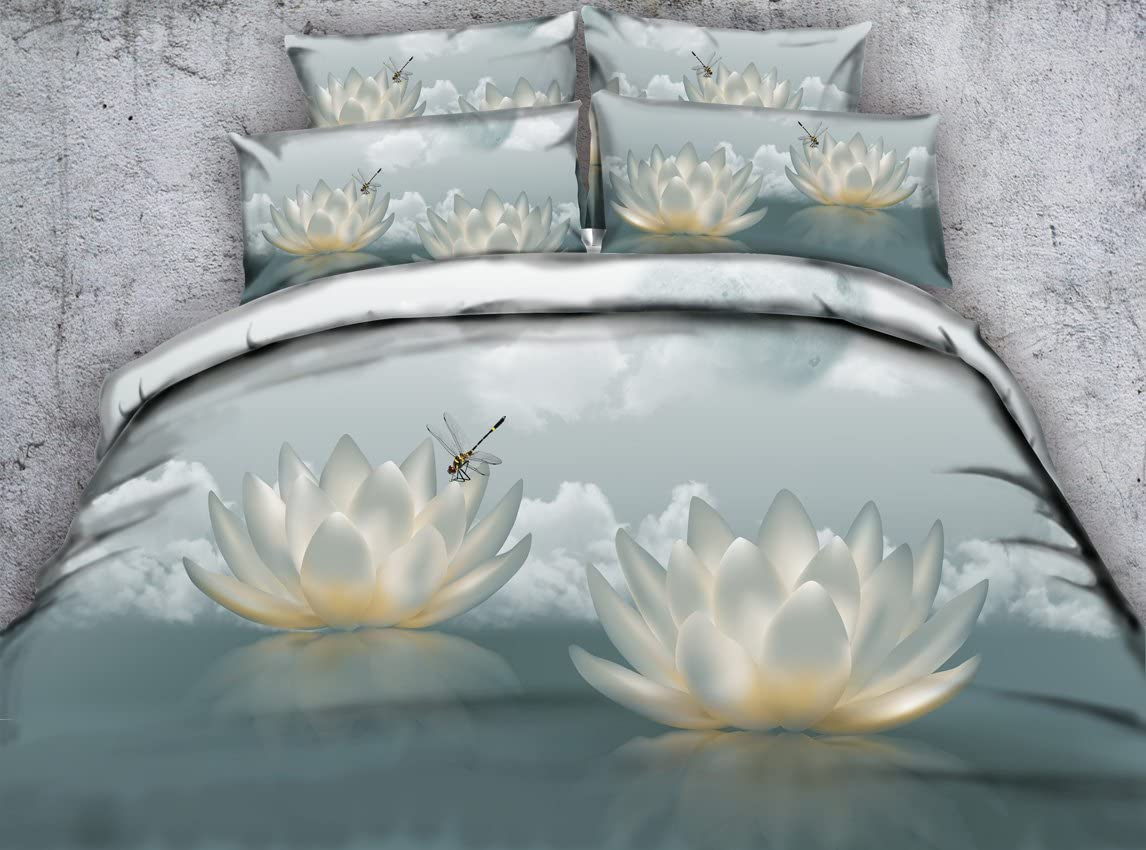 SEIAOING 3D Floral Duvet Cover Girls Linen Set Classical Bedspread Animal Dragonfly Bedding Set Twin Full Queen King Cal King Size Bed Cover Oriental Lotus Bed Set Coverlets (King)