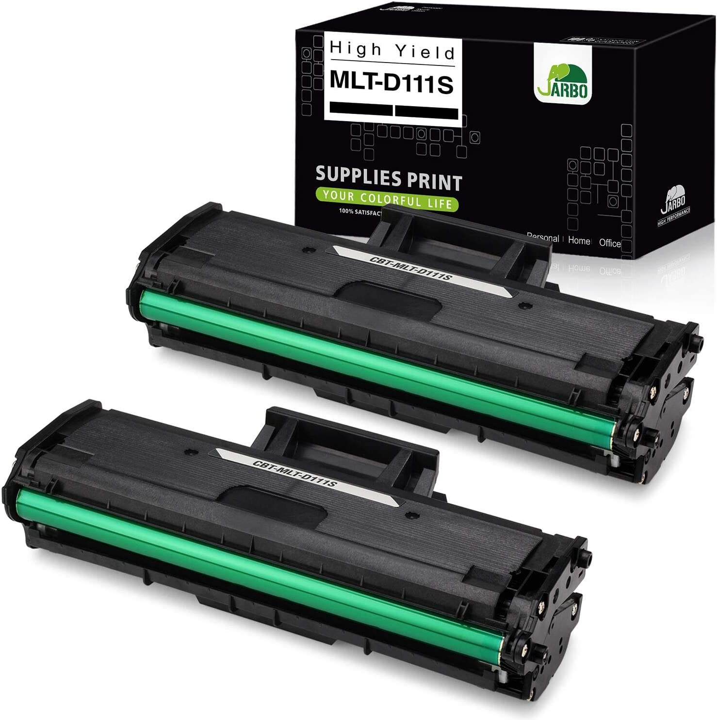 JARBO Compatible Toner Cartridge Replacement for Samsung MLT111S MLT-D111S MLTD111S D111S, High Yield, Use with Samsung Xpress M2020W, M2070FW, M2070W Laser Printer (Black), 2-Pack