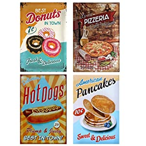 Easy Painter 4PCS Hotdogs Pizzeria Vintage Retro Wall Decor Tin Signs, Food Decorative Metal Sign for Home, Pub, Cafe, and Hotel (7.8x11.8inchx4pcs)