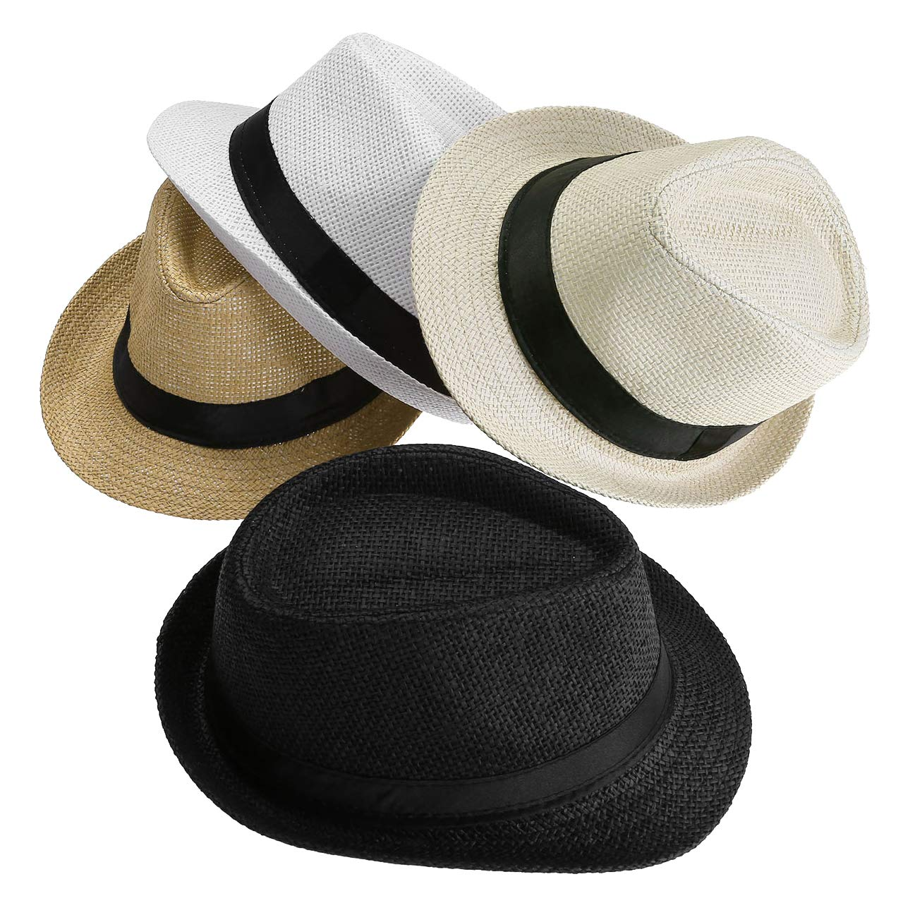 FALETO Unisex Summer Panama Straw Fedora Hat Short Brim Beach Sun Cap Classic (#011 Pack for 4 Colros) by FALETO