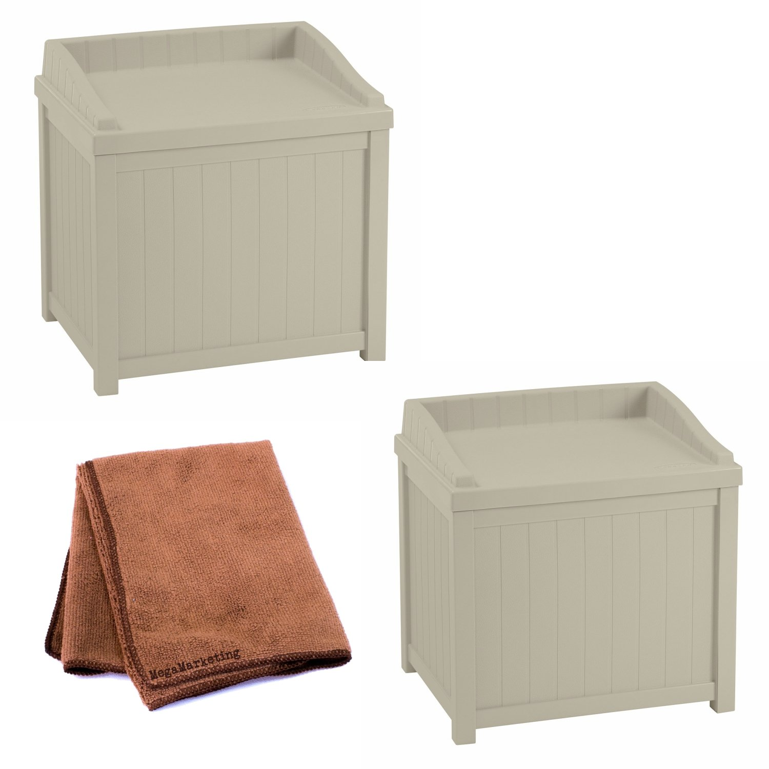 Charmant Amazon.com : Suncast SS1000 Storage Seat, Set Of 2 With Cleaning Cloth :  Garden U0026 Outdoor