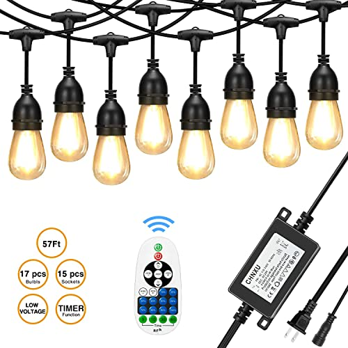 Upgraded CHNXU 57ft LED Outdoor String Lights Waterproof with DC 24V Low Voltage Transformer and Remote Control Dimmer,15 2spare LED Hanging Vintage Bulbs for Decorative Patio Backyard – Warm White