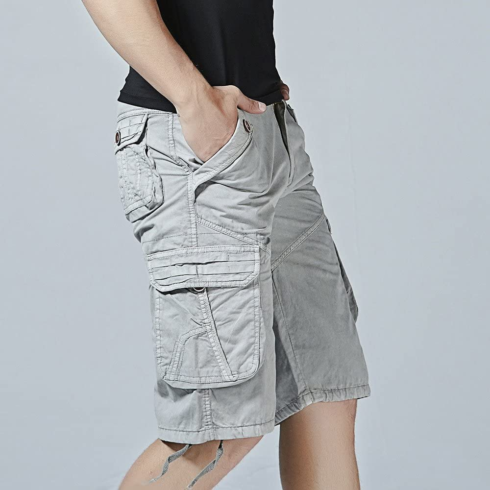 Cobcob Men s Cargo Shorts,Male Fashion Trouser Muti Pockets Work-Out Sweatpants Solid Jogger Short Pant