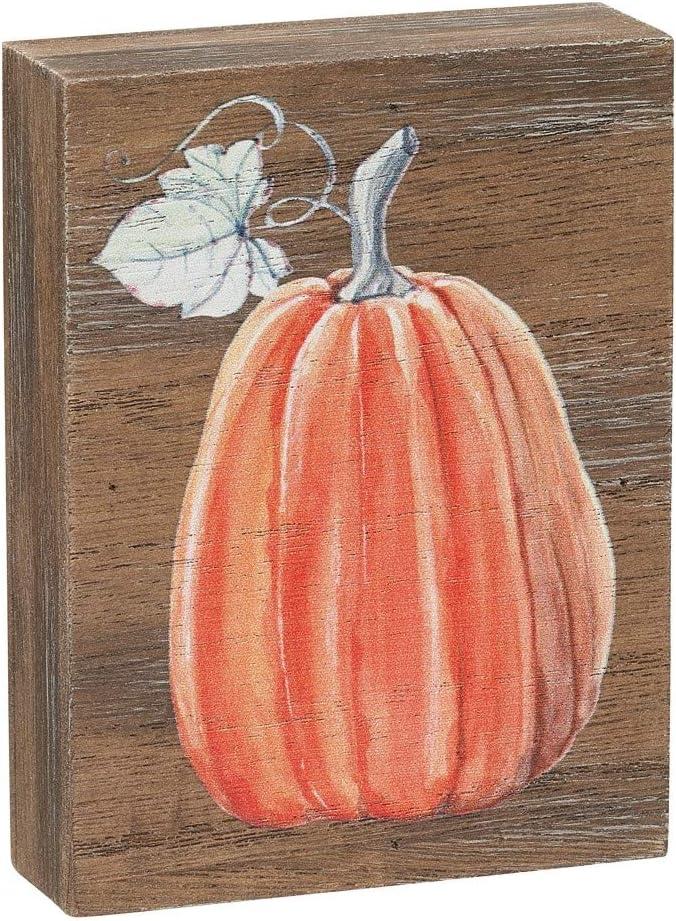 Collins Painting Mini Fall-Themed Wood Grain Block Sign (Tall Pumpkin)