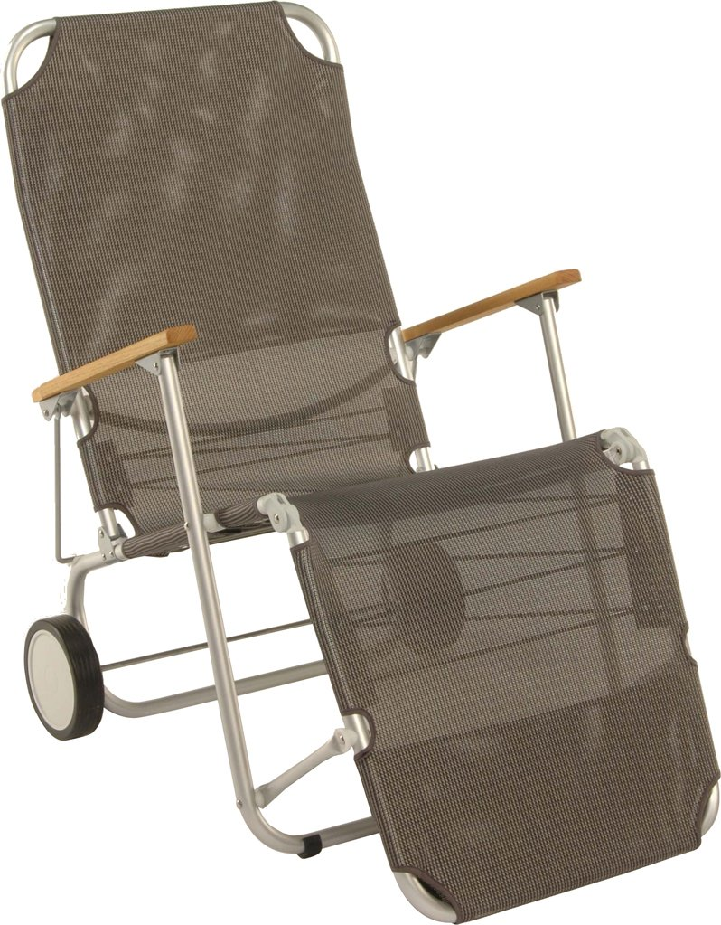Stern 440700 Beach Carry, Gestell Aluminium mit Teakarmlehnen, Bezug Textilen silbergrau