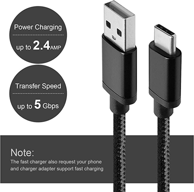 BeneStellar for Samsung S9 Charger Cable, USB C to USB A (2-Pack 5ft) Type C Nylon Braided Fast Charging Cord for Samsung Galaxy S9 Plus/Note 8 / S8 / ...