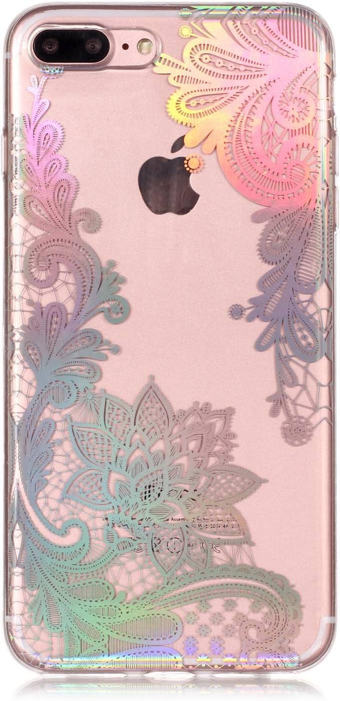 Fleur Floral Compatible avec Coque iPhone 8 Plus,Coque iPhone 7 Plus,ikasus Coque TPU Silicone /Étui Housse T/él/éphone Hybrid Crystal Clear Skin Extra Slim TPU Coque pour iPhone 8 Plus//iPhone 7 Plus
