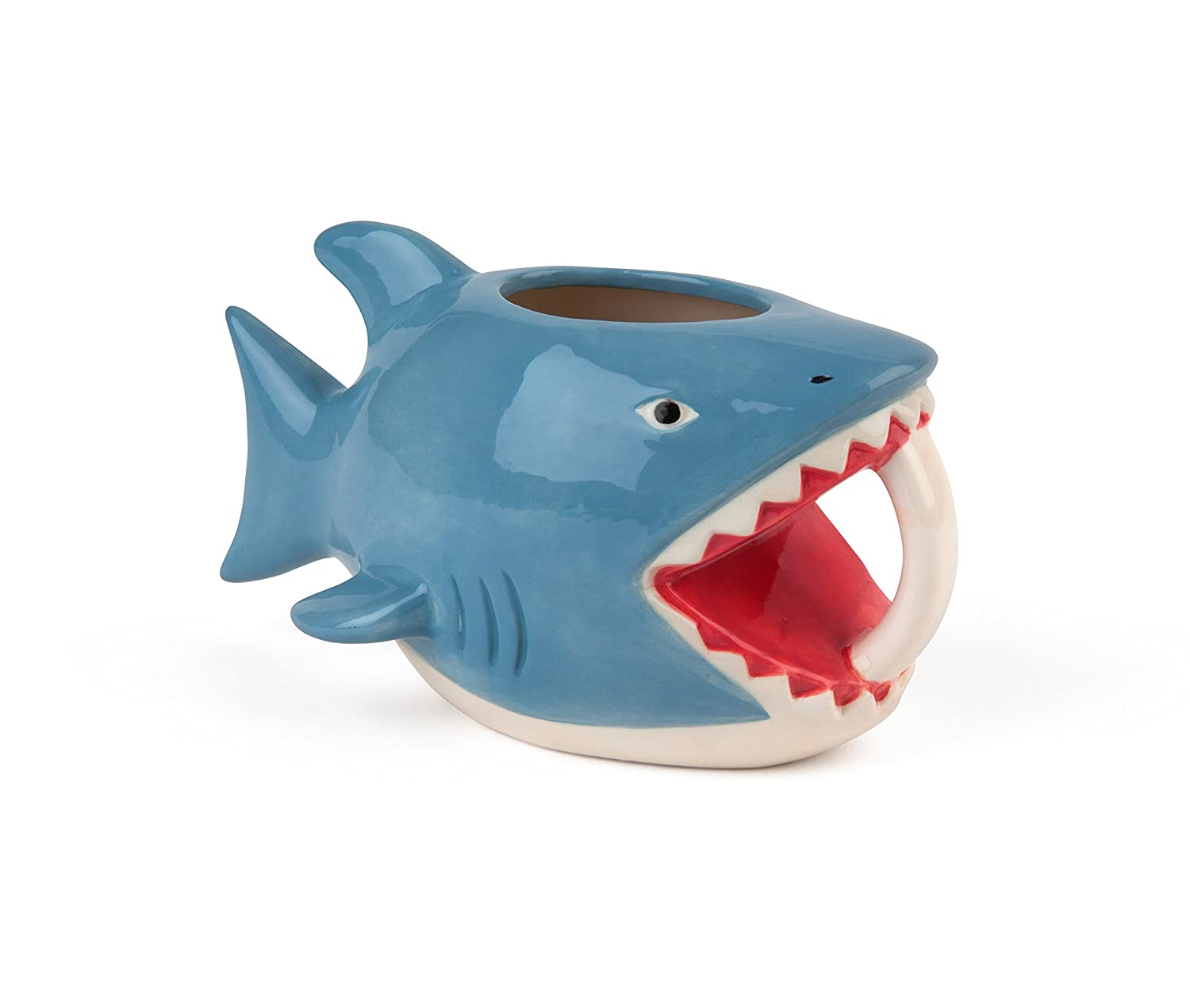 """BigMouth Inc""""Bite Me"""" Shark Coffee Mug, Holds 16oz, Ceramic Cup for Coffee and Tea with Handle, Funny Novelty Cup"""