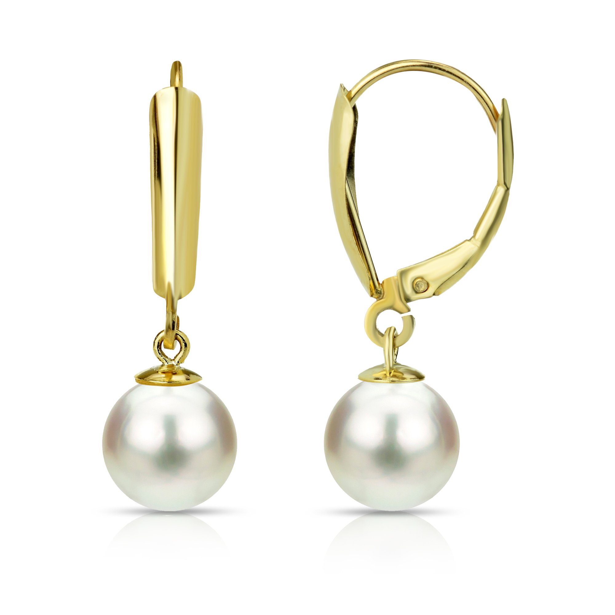18k Yellow Gold 5-5.5mm Round White Freshwater Cultured High Luster Pearl Lever-Back Dangle Earrings