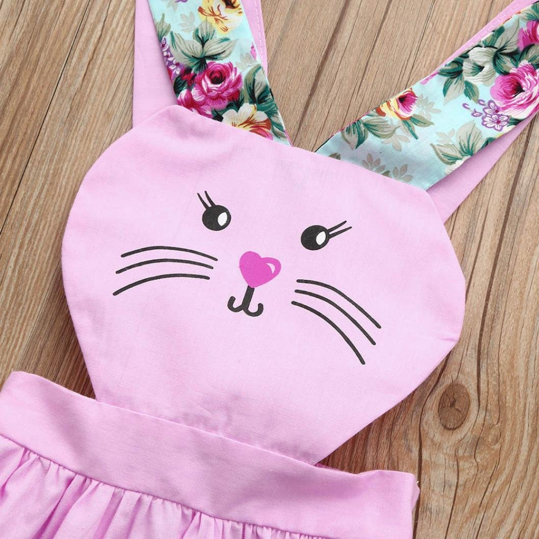 KaiCran 2018 Summer Toddler Kids Baby Girl Outfit Rabbit Clothes Lovely Sleeveless Cartoon Print Pageant Party Princess Dress