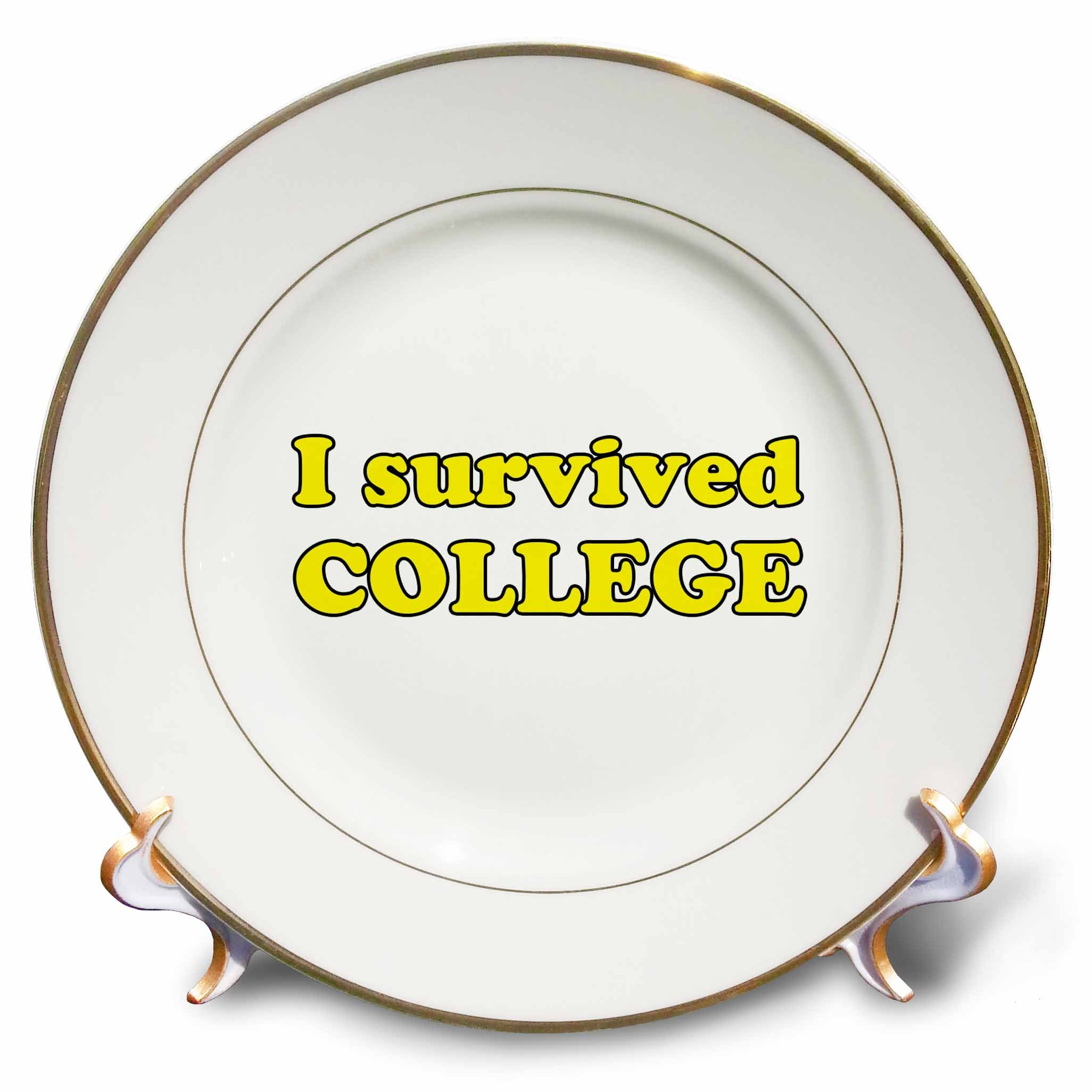 3dRose Student Humor - I Survived College Yellow - 8 inch Porcelain Plate (cp_274510_1)