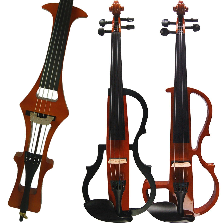 Aliyes Handmade Silent Electric Violin 4/4 Full Size Professional Student Violin For Beginner Solid Wood Violin Kit String,Shoulder Rest,Rosin-D1804
