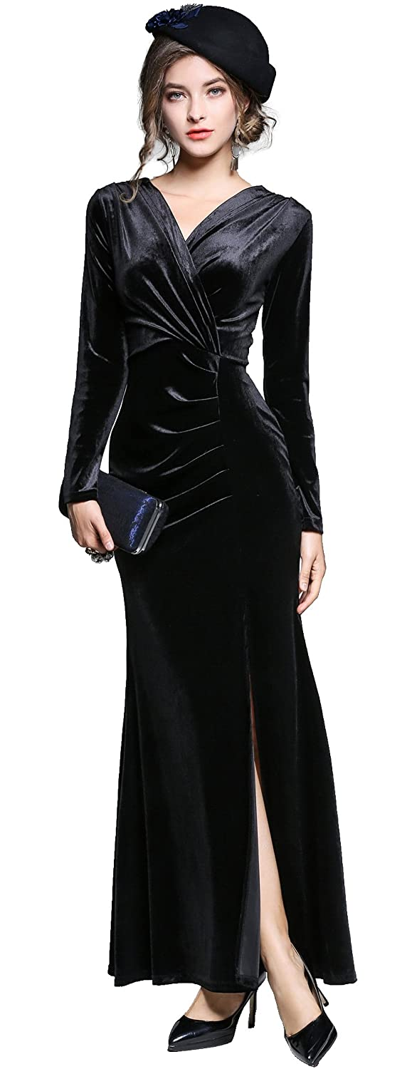 1940s Dress Styles Ababalaya Womens 90s Retro Velvet Long Bodycon Side Slit Formal Evening Gown $41.99 AT vintagedancer.com