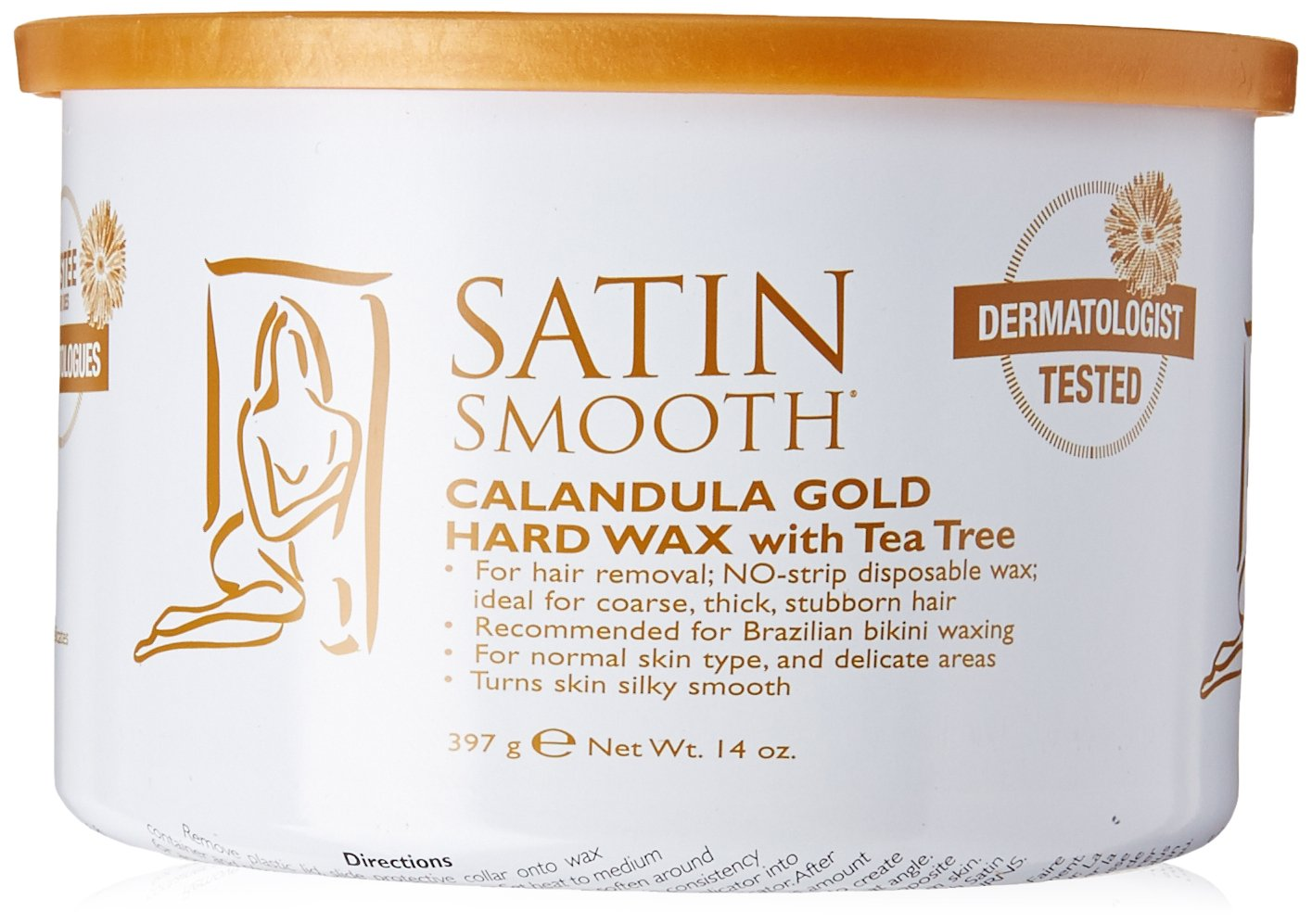 Satin Smooth Calendula Gold Hard Wax with Tea Tree Oil, 14 Ounce