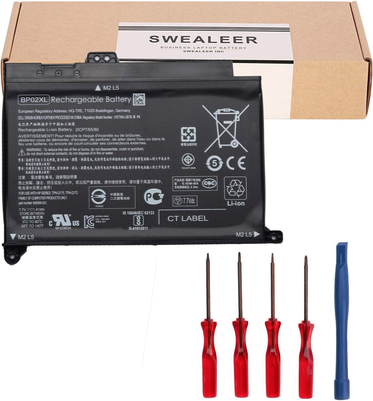 SWEALEER Compatible BP02XL Battery if Applicable HP Pavilion Notebook PC 15 15-AU010WM 15-AU018WM Replacement for BP02041XL HSTNN-LB7H HSTNN-UB7B 849569-541 849909-850 TPN-Q172 Q175 [41Wh 7.7V BP02XL]