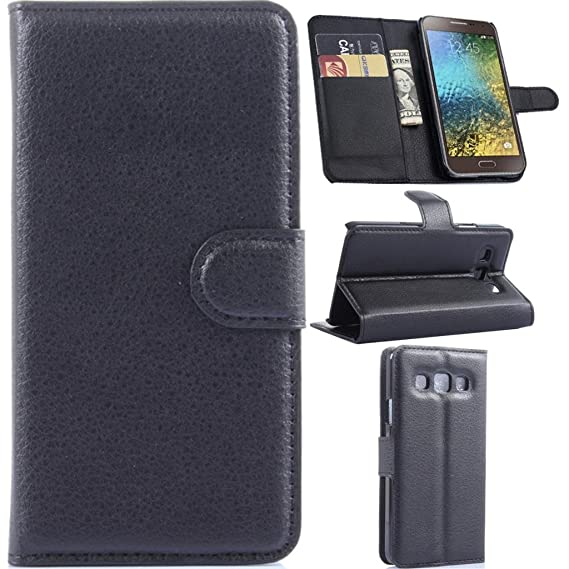 reputable site d727c 15358 Galaxy E5 Case,Galaxy E5 Wallet Case, Gift_Source (Wallet Function) (Black)  Premium PU Leather Flip Cover Leather Case for Samsung Galaxy E5 / E500